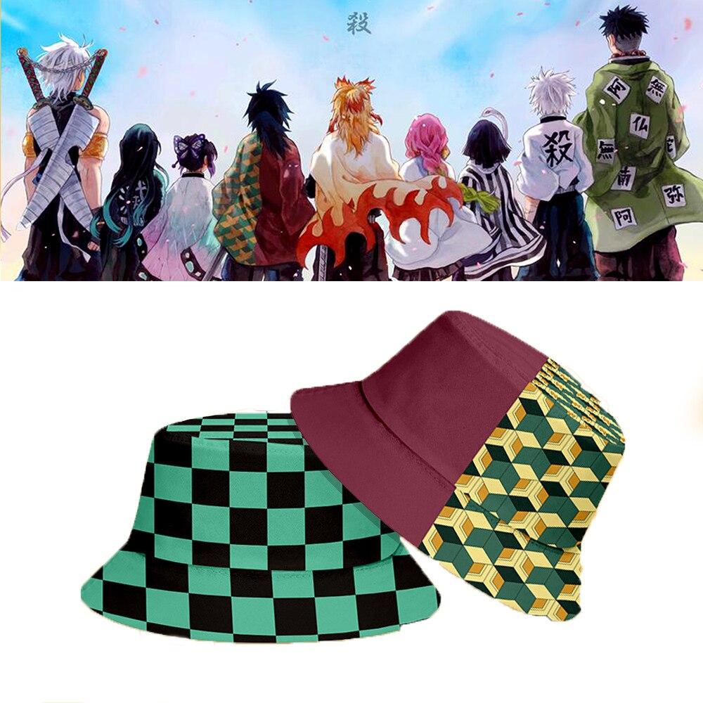 أنيمي شيطان القاتل صياد قبعة تأثيري الدعامة عادية شاطئ قبعة واقية من الشمس Kimetsu لا yaiba