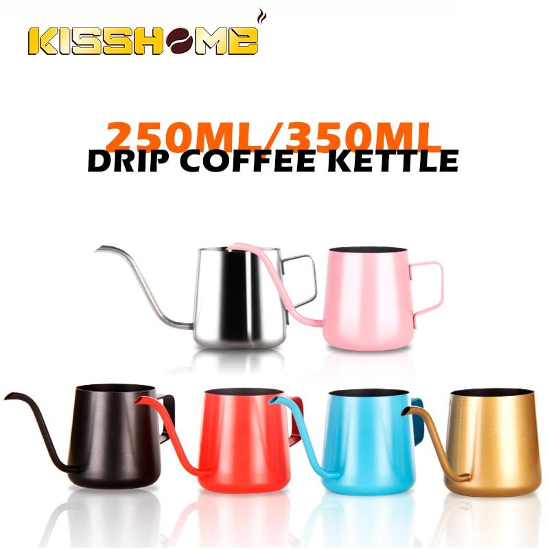 Drip Kettle 250/350ml Coffee Tea Pot Non-stick Coating Food Grade Stainless Steel Gooseneck Swan Neck Thin Mouth