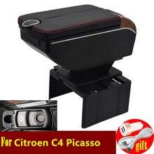 Para citroen c4 picasso caixa de apoio braço portas duplas aberto 7usb centro console caixa armazenamento braço resto