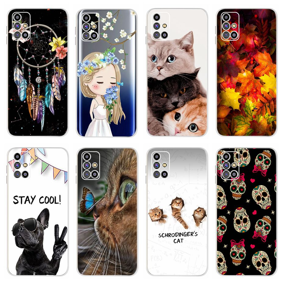 For Samsung Galaxy M31s Case SM-M317F Soft Silicone Painted Back Cover Phone Case For Samsung M31s Cover Shockproof Funda Bumper
