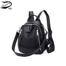 FengDong woman mini bag genuine leather backpack anti theft black small leather shoulder bag female travel backpack girl backbag