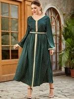 kaftan moroccan dot printing long sleeve maxi dresses for women muslim abaya dubai islam clothing jalabiya arabic djellaba femme