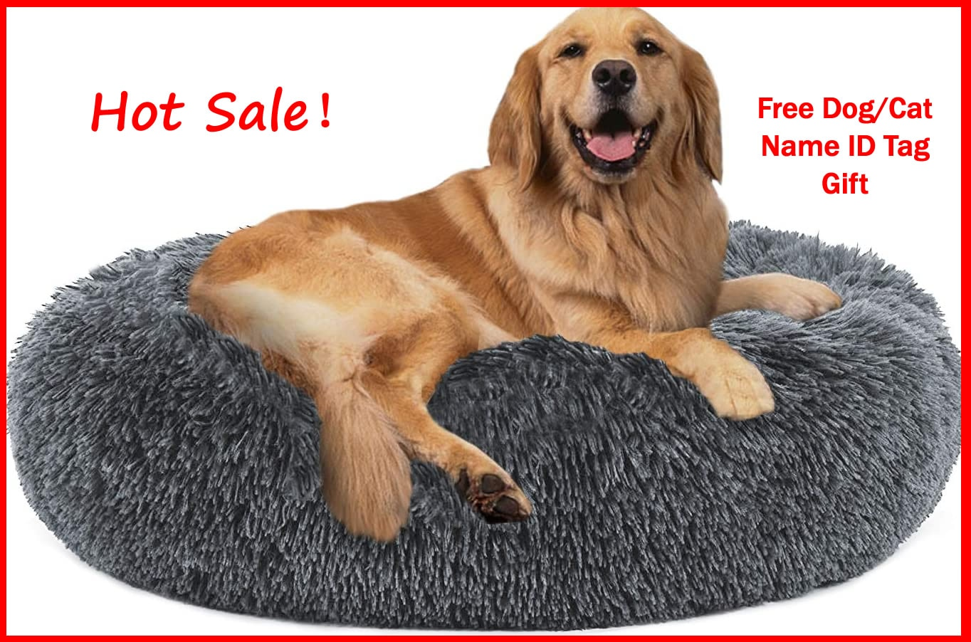 AliExpress - Anti Anxiety Pet Donuts Sleeping Marshmallow Cat Bed Fluffy Soft Long Plush Round Cozy Luxury Bed for Cats House Dog Dropshiping