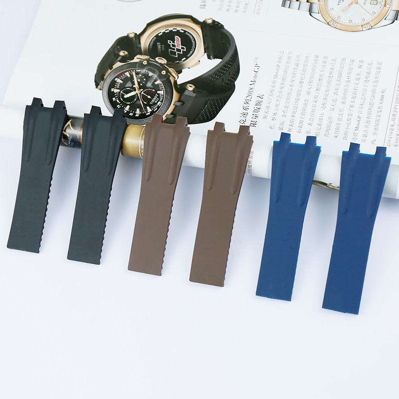 Accesorios de reloj correa de silicona para hombres para Athens Ulysse Nardin 26mm náutica manager series convexo boca MS correa de goma