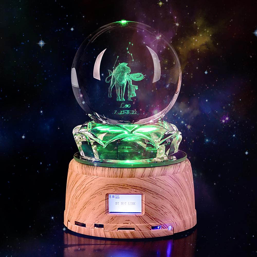 12 Constellation Leo Crystal Ball LED Night Light Wood Rotating Base MP3 Engraved Bluetooth RGB Lamp Gift for Birthday  Gift enlarge