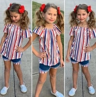 opperiaya baby girls short sleeve top shorts casual set fashion independence day striped t shirt and stitching denim short pants