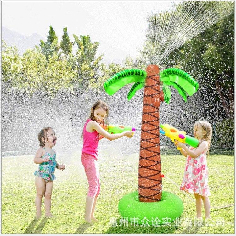ao ar livre gramado praia jardim coco arvore inflavel spray de agua criancas sprinkler
