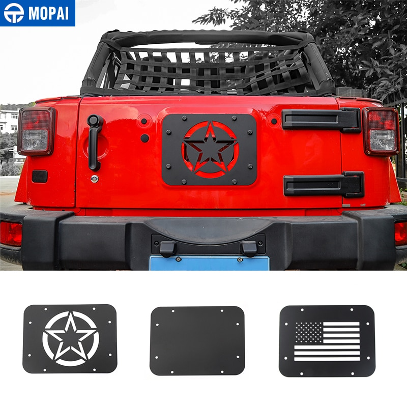 MOPAI Car License Plate Mount Tailgate Air Vent Decoration Cover for Jeep Wrangler JK 2007-2017 Car
