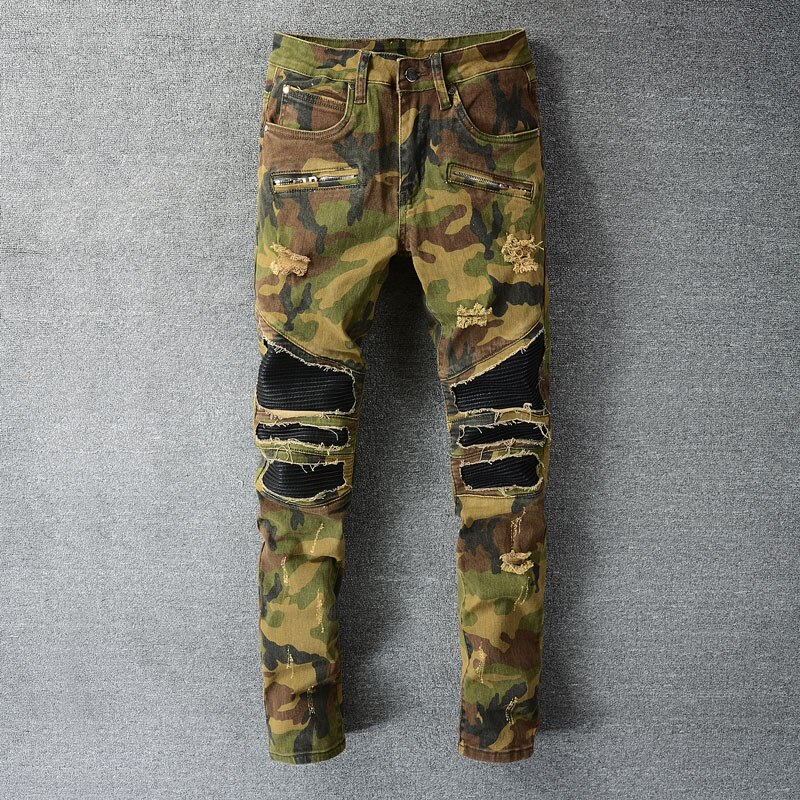 Модные мужские джинсы в американском уличном стиле, камуфляжные нашивки, дизайнерские рваные байкерские джинсы, мужские джинсы с нескольки...
