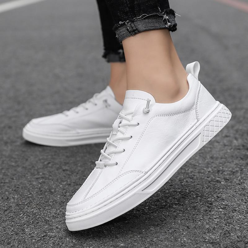 الرجال رياضية أحذية من الجلد الرجال جلد طبيعي أسود تصميم الأزياء عارضة الفاخرة العلامة التجارية بسيطة جورب الشقق أسود أبيض 2019 جديد