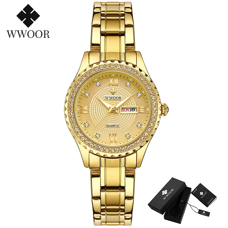 WWOOR Luxury Brand Diamond Watch For Women Fashion Dress Gold Watch Women Elegant Quartz Date Ladies Bracelet Watch reloj mujer enlarge