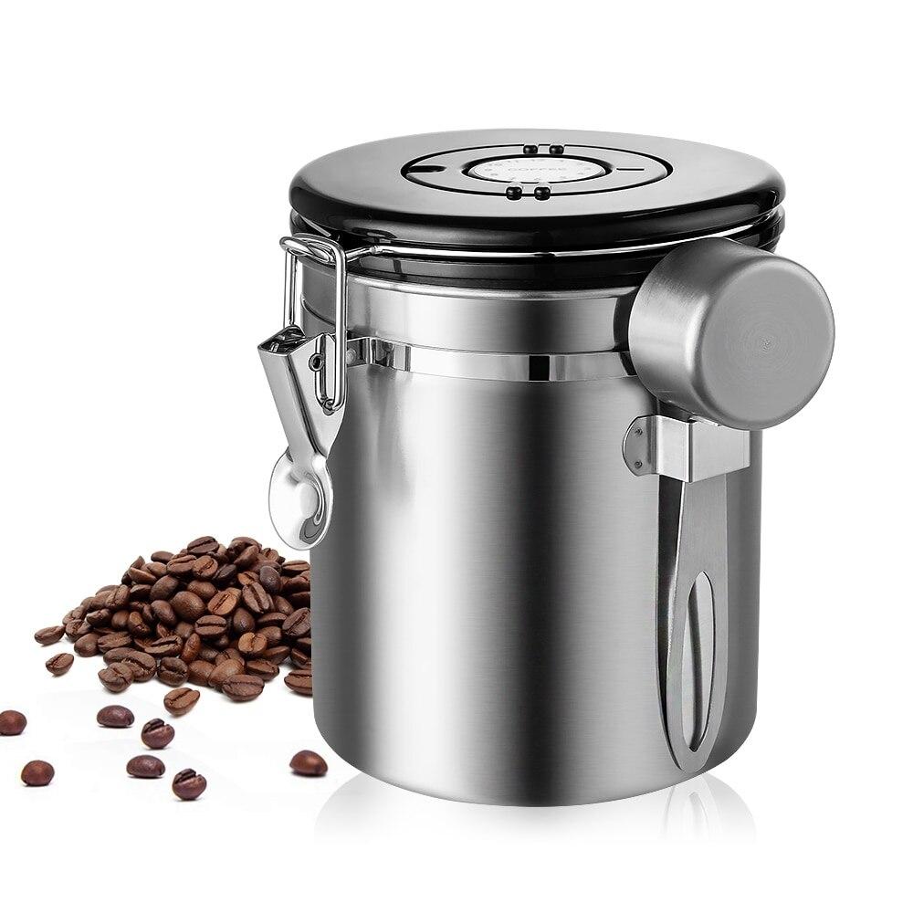 Bote de café de l con recipiente de café hermético para almacenamiento de acero inoxidable para té de granos de café