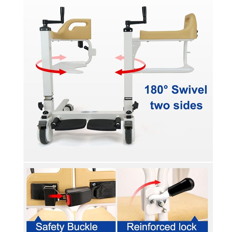Upgrade Manual Shower Commode Chairs for Elderly Disabled Lift Wheelchair Handicapped Transfer Chair Bathroom Toilet Use