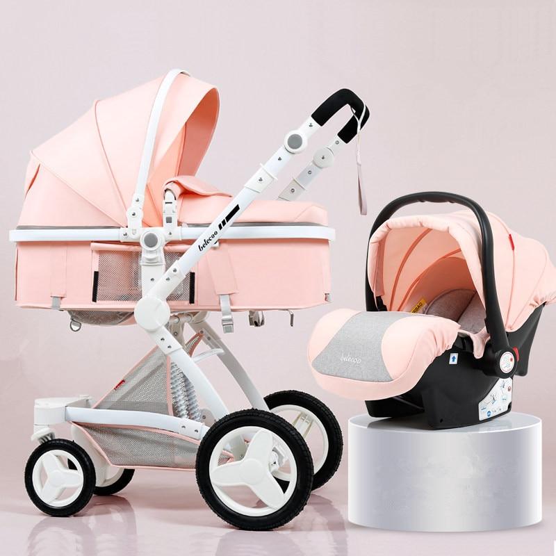 عربة أطفال ذات مناظر طبيعية عالية 3 في 1 ، عربة أطفال قابلة للعكس ، عربة أطفال وردية مع مقعد سيارة للأم