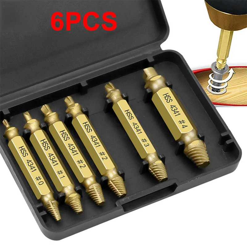 6pcs Damaged Screw Extractor Drill Bit Set Easily Take Out Broken Screw Bolt Remover Stripped Screws