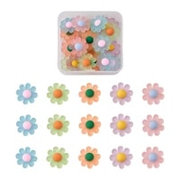 1box frosted flatback resin daisy flower cabochon embellishments no hole for diy scrapbooking jewelry making crafts decoration