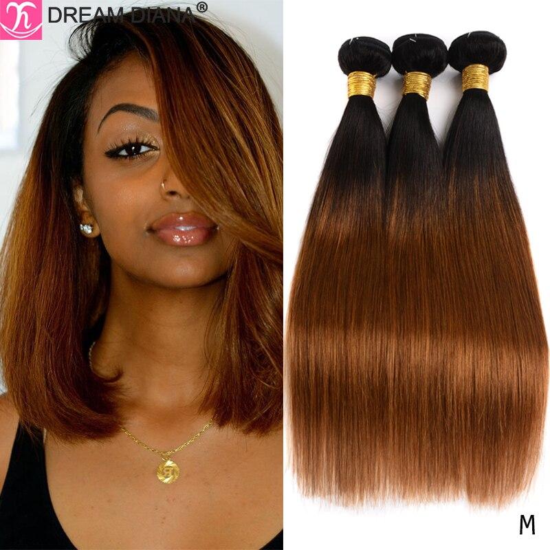 Dreamdiana dois pacotes de cabelo em tons ombre cabelo reto 1b 27 30 99j colorido remy cabelo humano ombre tecer cabelo brasileiro pacotes m