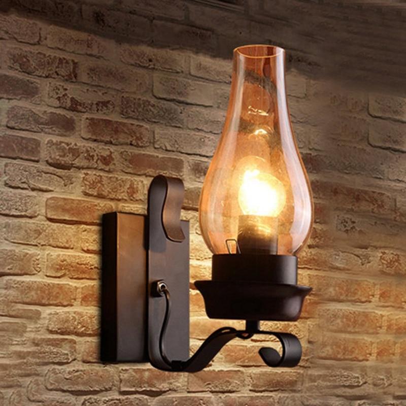 مصباح حائط زجاجي ريفي عتيق ، مصباح ديكور لغرفة النوم (لا يحتوي على لمبات)