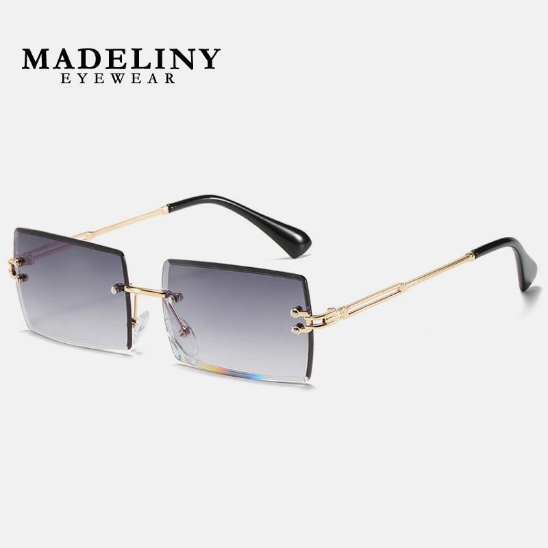 MADELINY Trendy Small Rectangle Sunglasses Women Rimless Square Sun Glasses For Traveling Style UV400 Shades Eyewear MA110