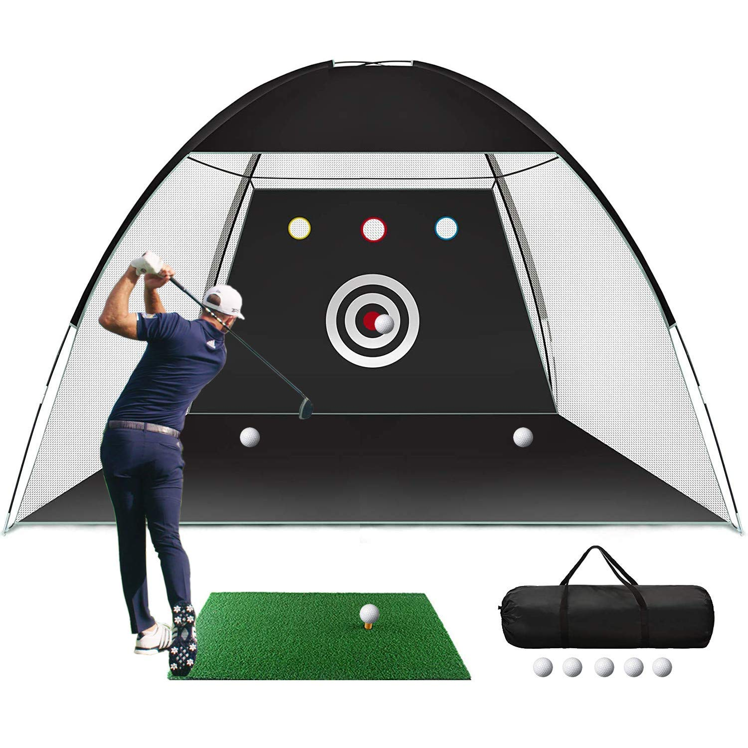 Golf Practice Net, 10x7ft Golf Hitting Training Aids Nets with Target and Carry Bag for Backyard Driving Chipping