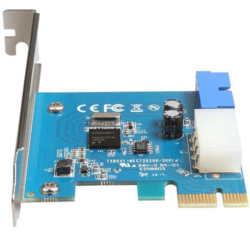 Nuevo adaptador de tarjeta de expansión USB 3,0 PCI-E externo a conector interno de 20 pines tarjeta PCI-E con fuente de alimentación de 4 pines TXB152