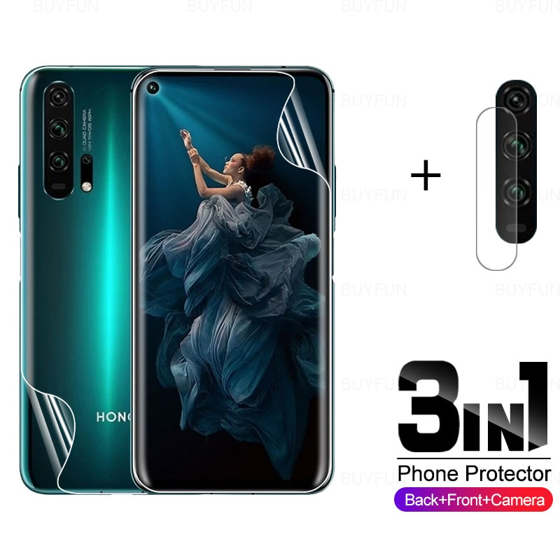 3in1 Camera Protective Glass for Huawei Honor 20 Pro Front Back Hydrogel Film for honor 20 pro 6.26�
