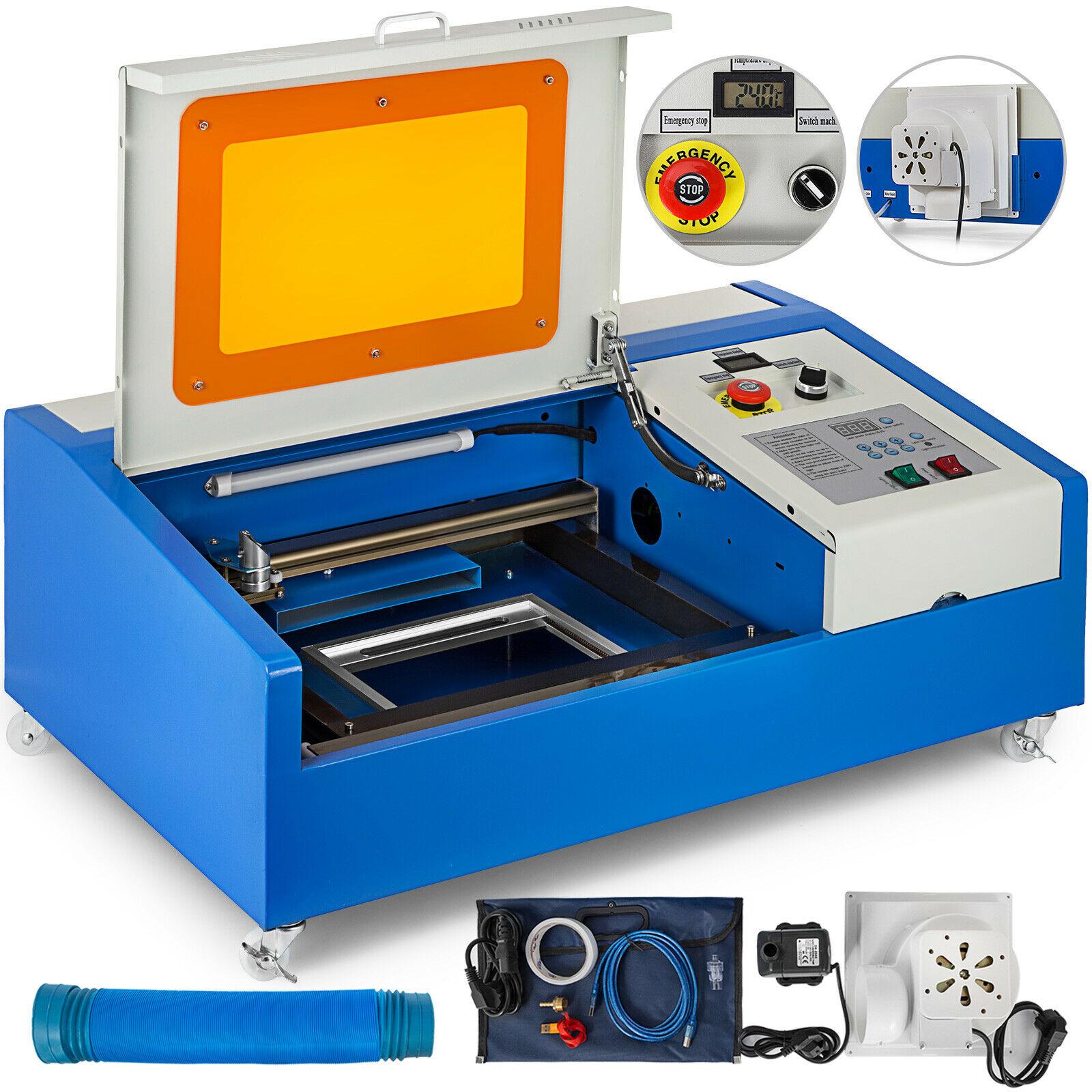 Engraver Cutter Laser 40W CO2  Engraving Cutting Machine 300x200mm LCD+ 4  Wheels  USB  Port