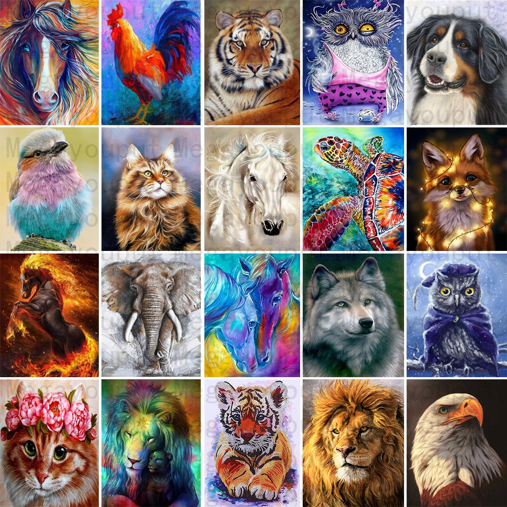 25 Pattern Animal 5D Diy Diamond Painting Cross Ctitch Kits Wall Sticker Diamond art Mosaic Embroidery Painting New Year Gift
