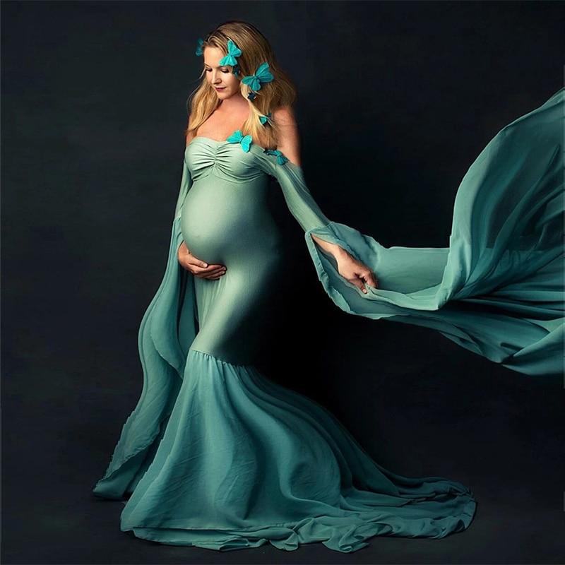 فستان طويل مثير للحوامل ، أكتاف عارية ، اكسسوارات تصوير الأمومة ، ملابس الحمل الفاخرة ، ماكسي ، ملابس التصوير