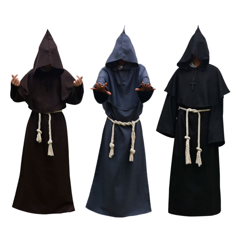 Unisex Halloween Robe Hooded Cloak Costume Cosplay Monk Suit Adult Role-playing Decoration Clothing unisex halloween christmas cloak cape adult men women hooded long cloak black costume dress coats death wizard cosplay costume
