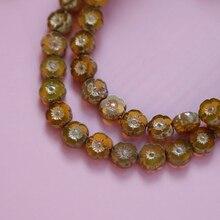 4 perles [série de perles tchèques importées] rétro Vintage fleur épaisse coupe perles de verre japonais bricolage à la main boucles doreilles accessoires