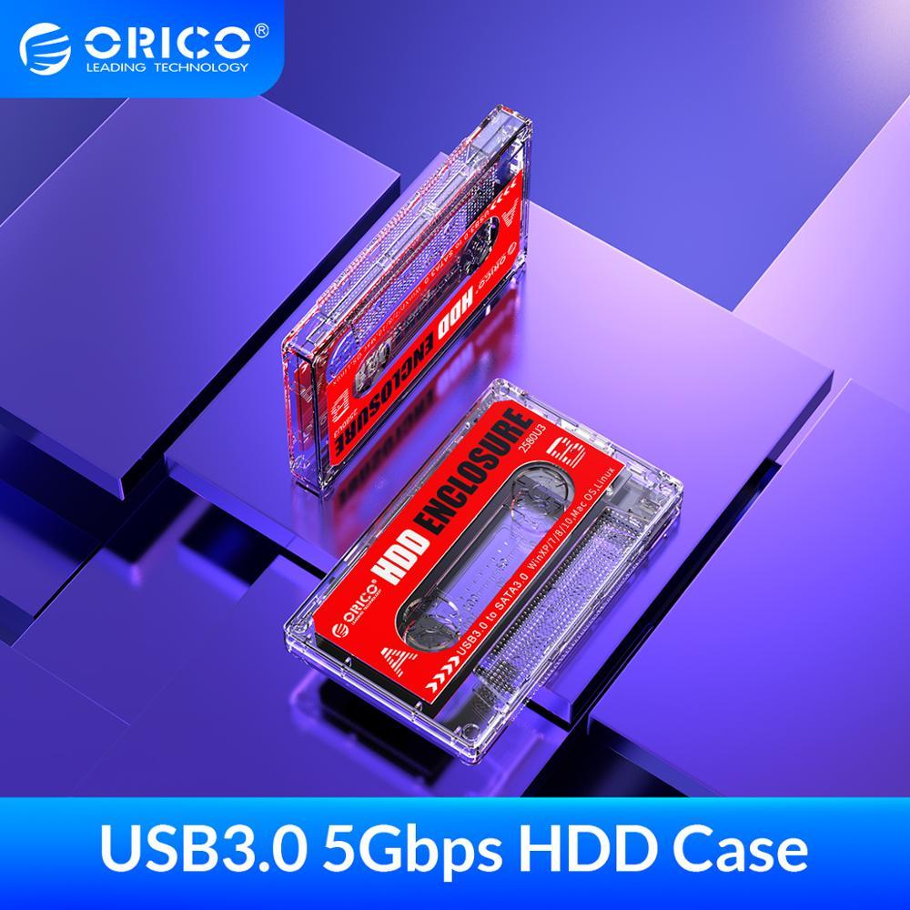ORICO 2580U3 Hard Drive Case USB3.0 HDD Enclosure External Transparent HDD Case DIY Stickers for 2.5'' SSD HDD Cassette Tape Des