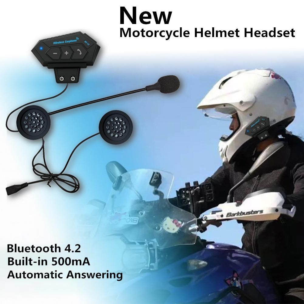 500mA наушники мотоцикл Bluetooth гарнитура шлем V4.2 Bluetooth домофон Мотор велосипед гарнитура снижение шума микрофон