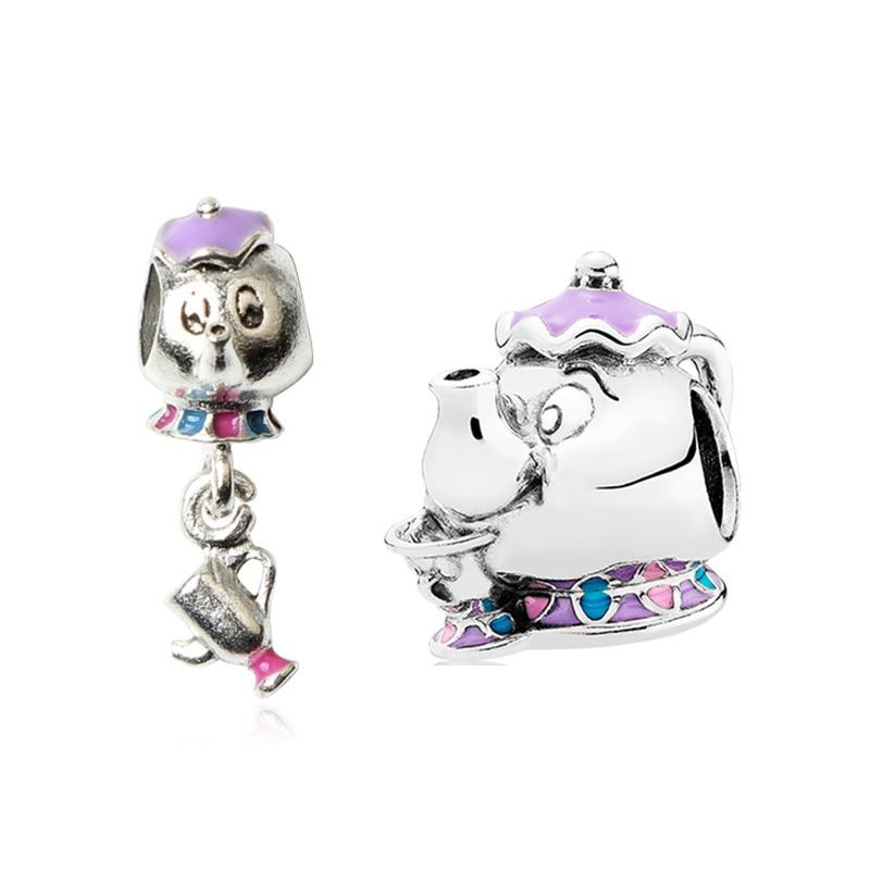 Anime Beauty Beast Mrs. Potts Beads for Jewelry Making Fit Original Pandora Charms Bracelet Women En