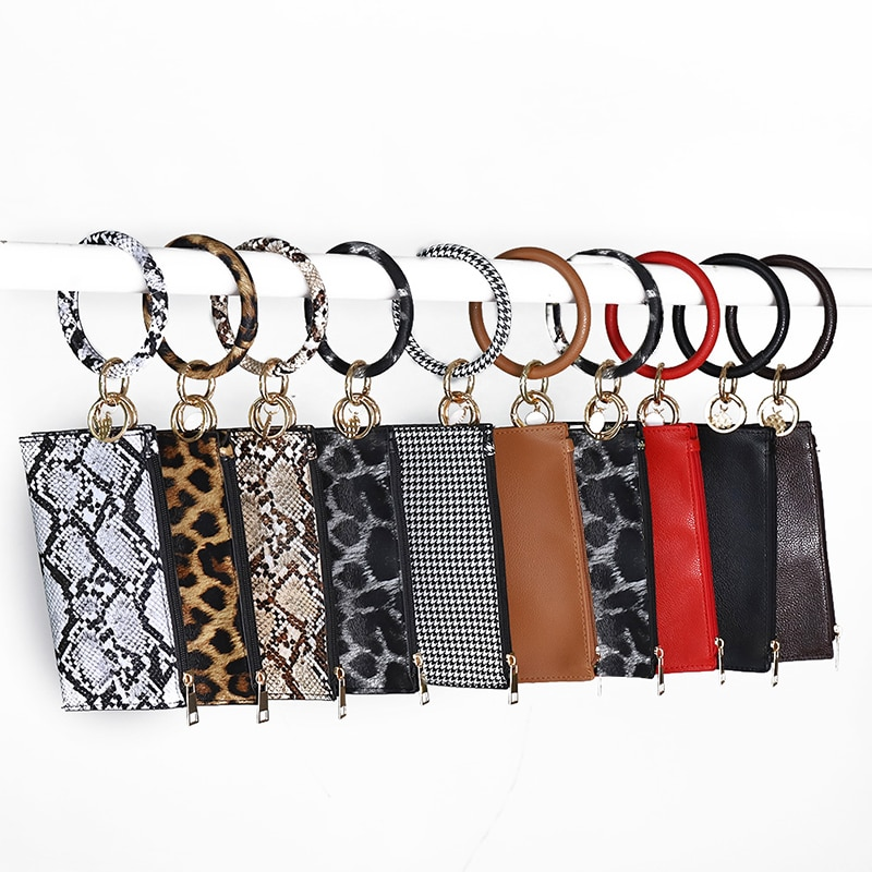 Llavero multifunción de moda Cartera de teléfono de cuero de PU O llavero con bolso de mano a juego de joyería