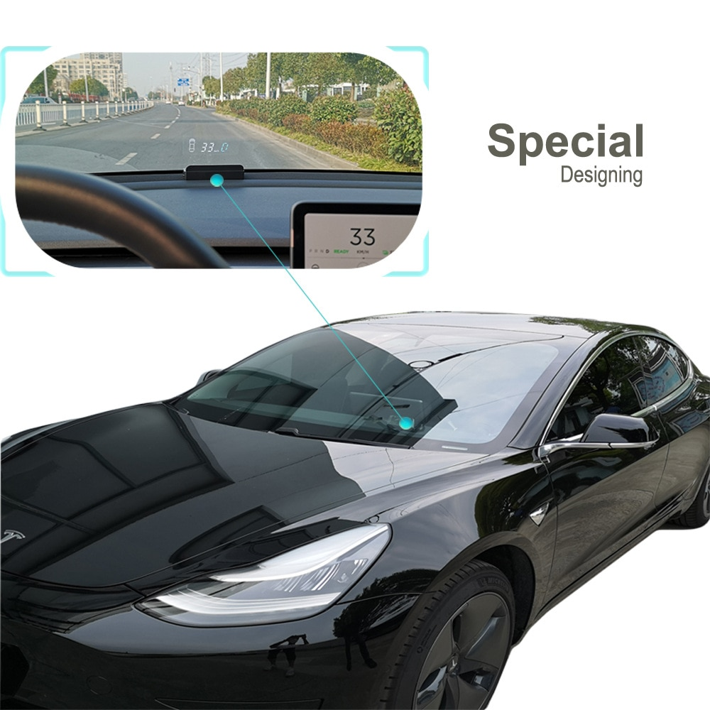 The Head Up Display Is Applicable To The on-board Computer Display of Tesla Model 3 Speed, Power, Door Gear enlarge