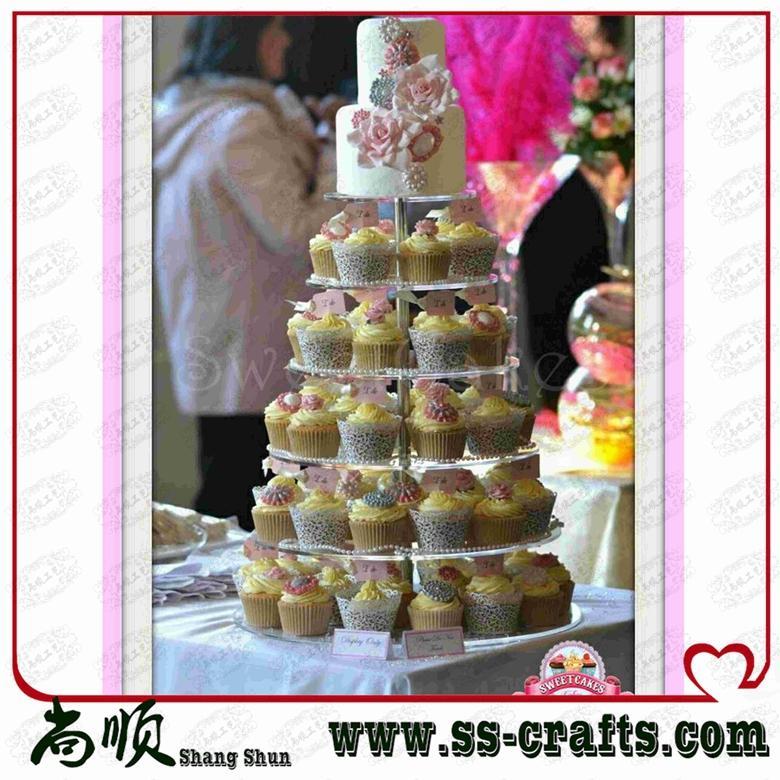 Claro 6 niveles acrílico mesa superior boda soporte para cupcakes Plexigalss boda caja de magdalenas fiesta Decoración