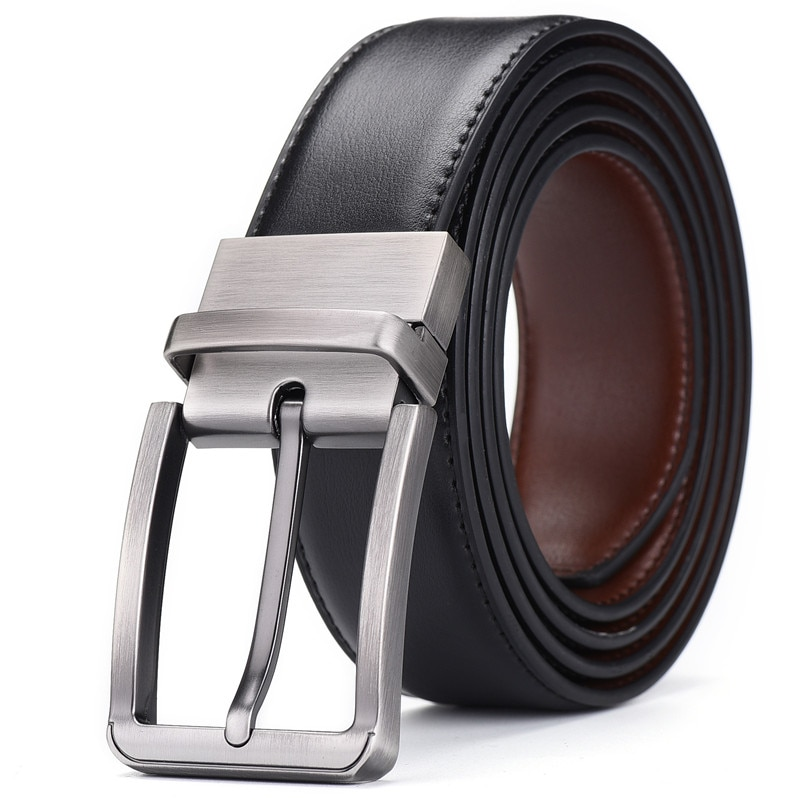 Men's genuine leather business affairs Belt brand Women's quality alloy rotate buckle The belt can be used on both sides