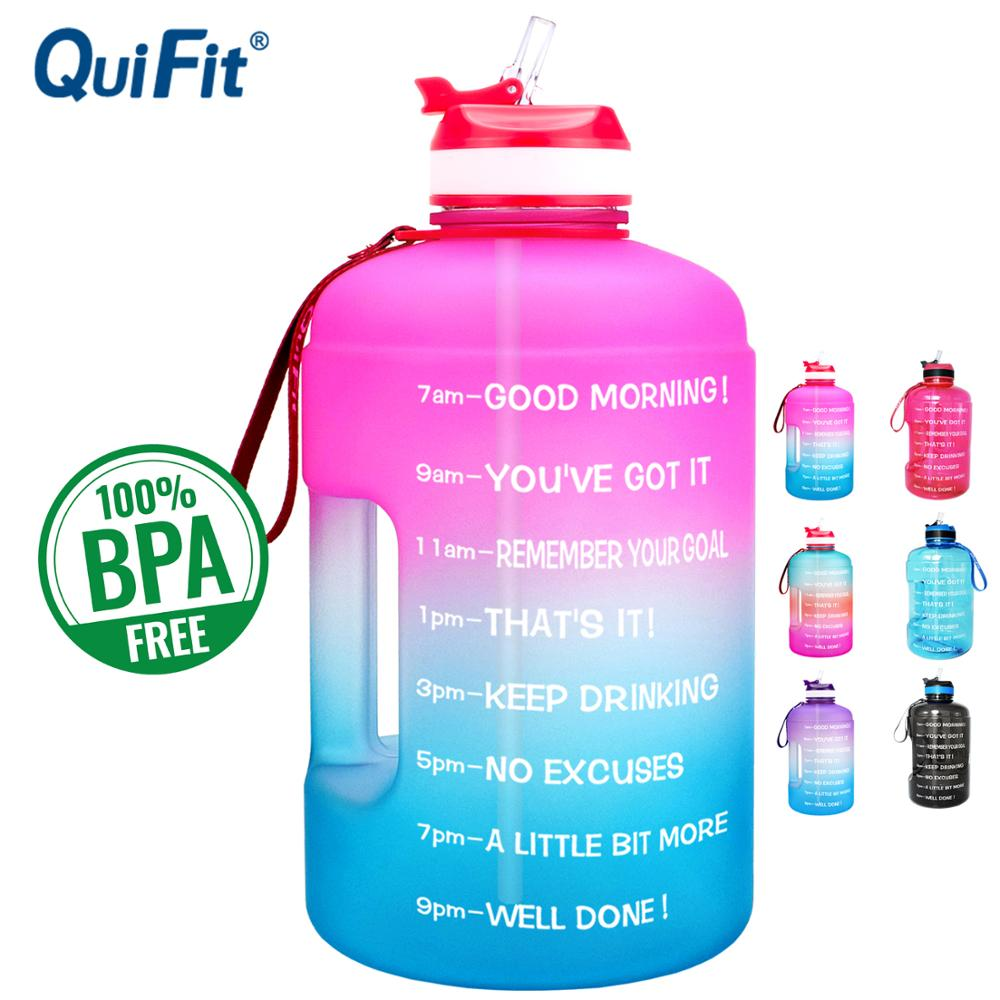 QuiFit 3.78L 2.2L 1.3L 128oz Gallon Water Bottle with Straw Clear Plastic Drinking Bottles GYM Tool