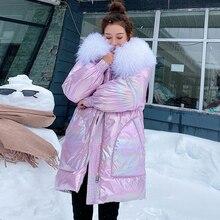 Mode hiver femmes longue brillant grand réel col de fourrure argent doudoune manteau à capuche Parkas épais veste dhiver femmes Outwear