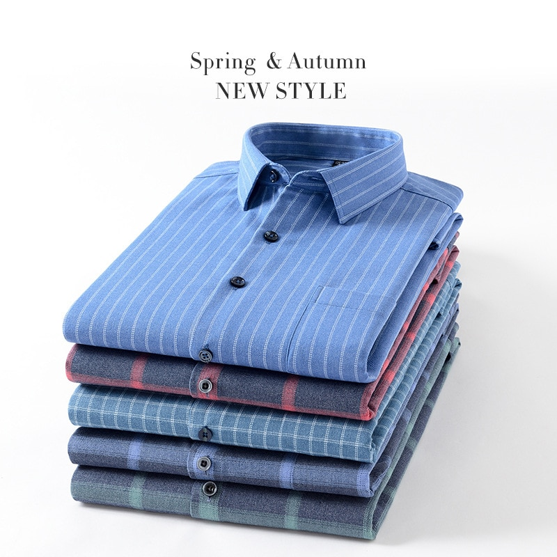 Autumn Winter Casual Bamboo Fiber Plaid Long Sleeve Men's Business Shirt Office Simple Daily Work Me