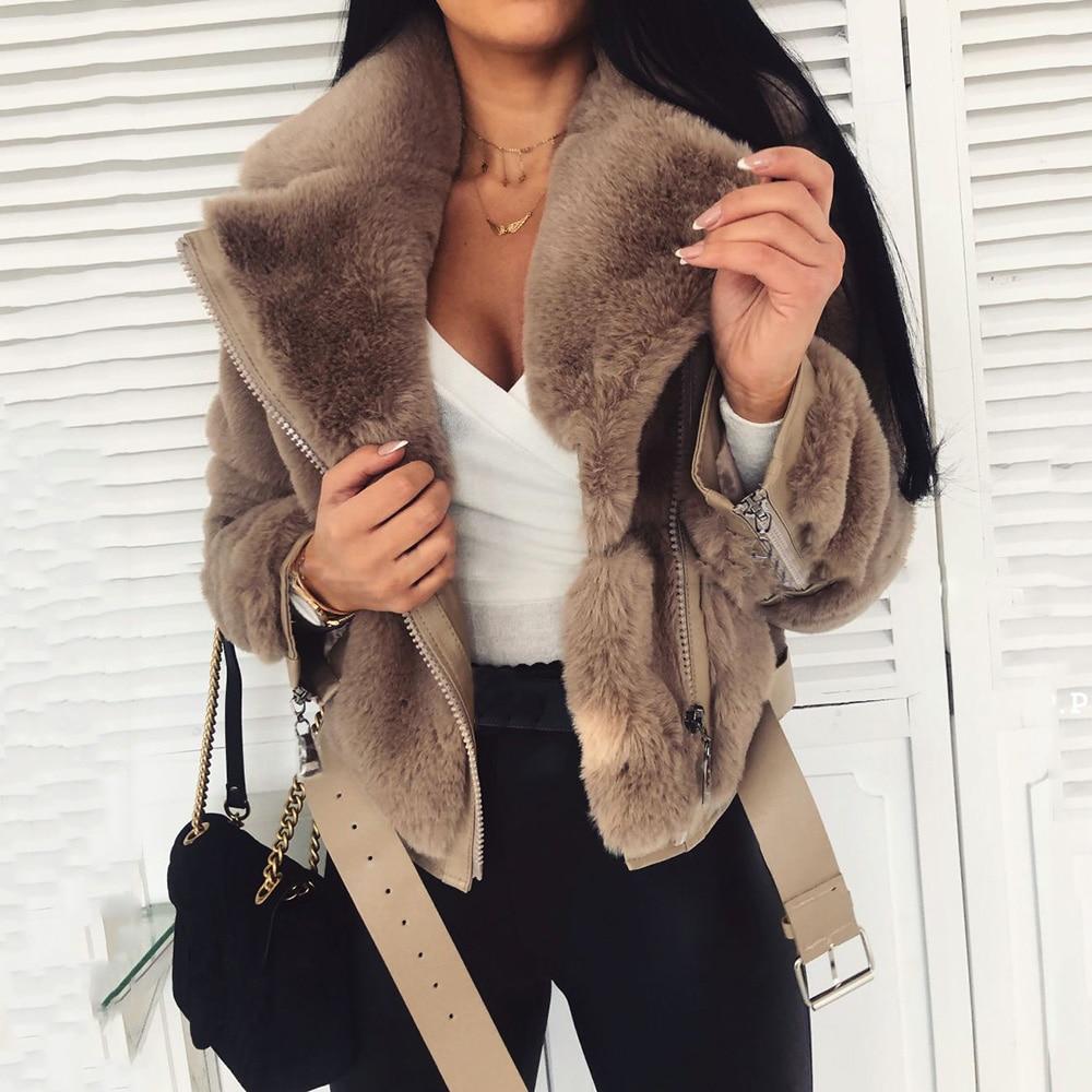 Женское короткое пальто из искусственного меха, теплая зимняя куртка с поясом, повседневная верхняя одежда, женские куртки, верхняя одежда, ...