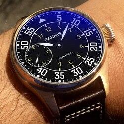 Novo parnis 44mm relógios mecânicos moda relógio masculino mão enrolamento mostrador preto marca pulseira de couro genuíno relógio de pulso masculino