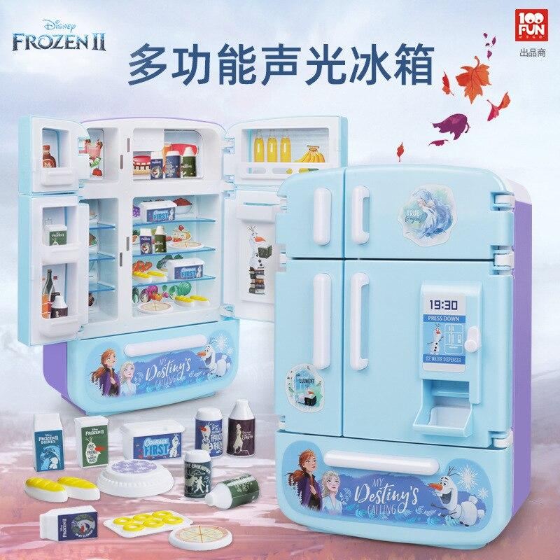 Disney frozen 2 princesa elsa anna nevera regalo divertido niños juguete de simulación electrodomésticos cocina juguete para regalo Juguetes De niña