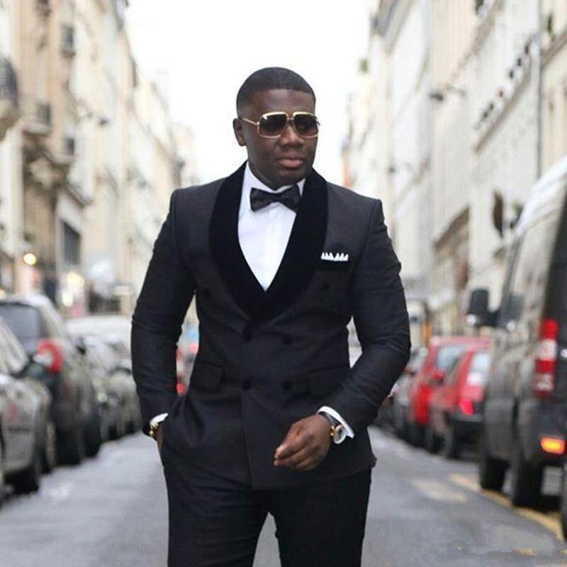Stylish Design Groom Tuxedos Double Breasted Black Shawl Lapel Groomsmen Best Man Suit Mens Wedding Suits (Jacket+Pants+Tie) 220