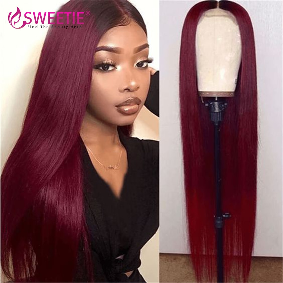 Burgundy 99J Straight 13x4 Lace Front Human Hair Wigs Brazilian 99J 13x1 T Lace Wig Pre Plucked 4x4 Lace Closure Remy Hair Wigs