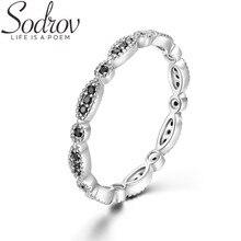 SODROV Genuine 925 Sterling Silver Black Spinel Elegant Rings for Women Trendy Zircon Sterling Silver Jewelry G013
