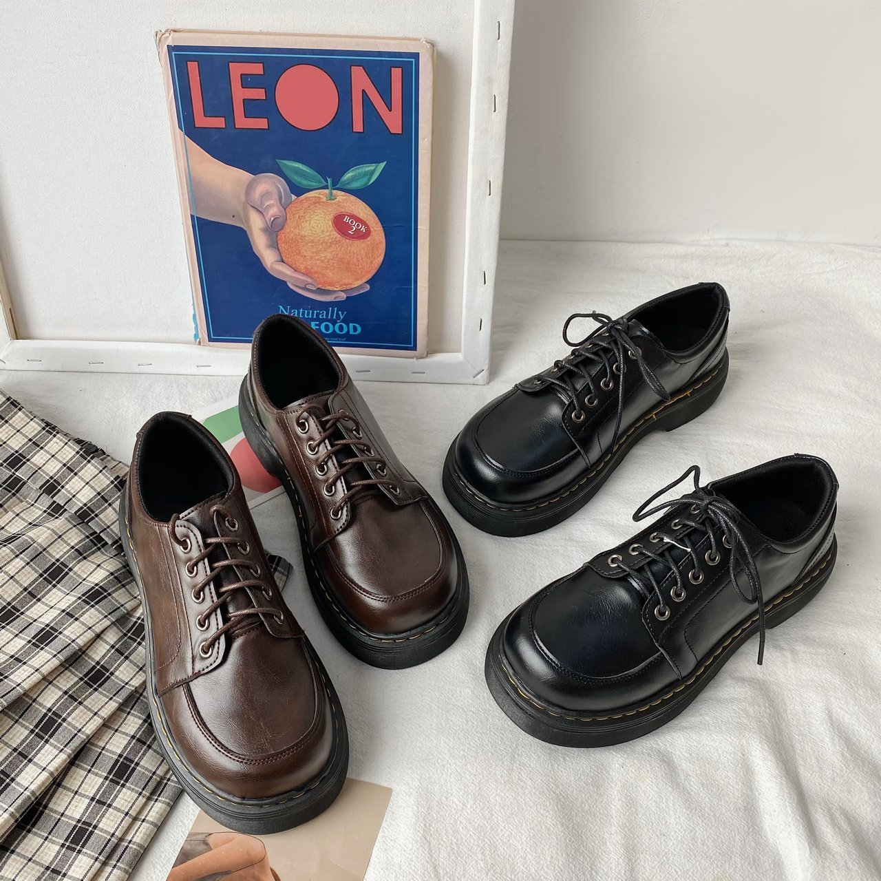 Women Platform Oxford Shoes 2021 Classic Lace Up Leather Shoes Casual British Style Comfortable Women Loafer Shoes Flats Brown