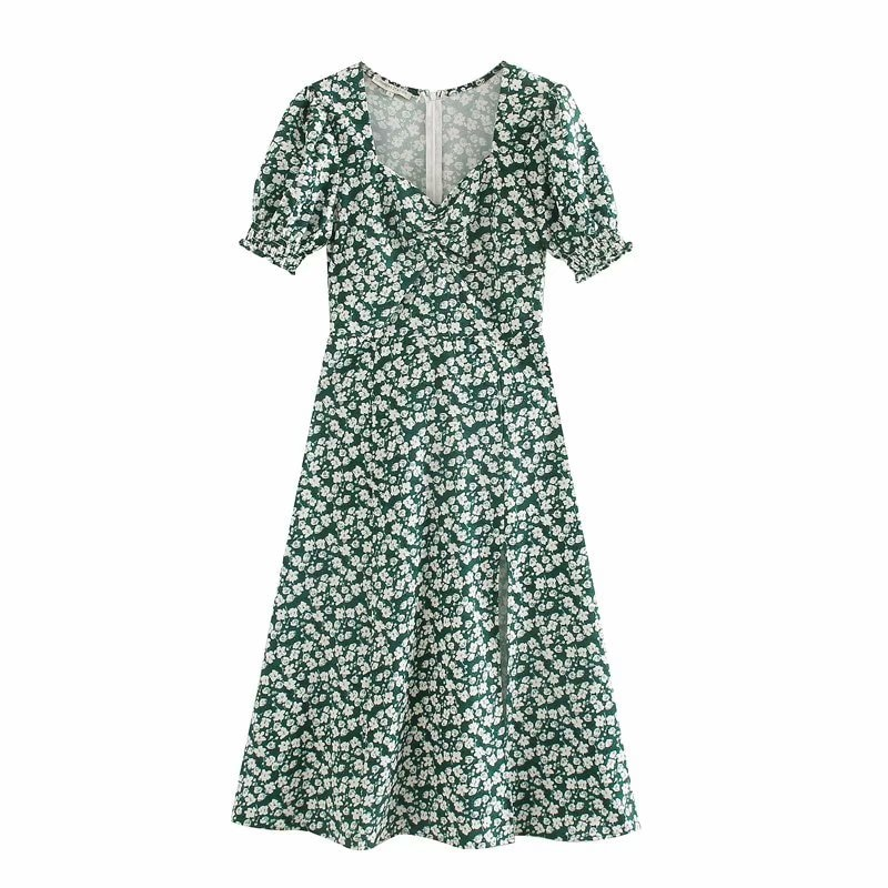 Vestido verde con estampado floral para mujer, novedad de 2020, vintage con cuello cuadrado, abertura en el pecho, manga corta, vestido elegante DS3784