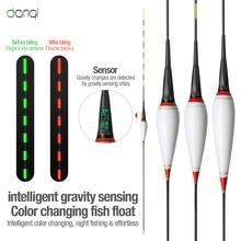 DONQL Smart brillant flotteur de pêche électronique lumineux Flotador équipement de pêche sattaquer Bobber coulant changement de couleur + 2 batterie